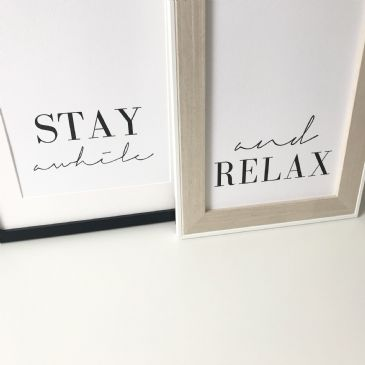 Stay awhile & And relax SET OF 2 (A4 textured card)
